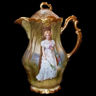 Limoges Gorgeous Chocolate Pot with Fabulous Portrait Signed Master Artist Dubois