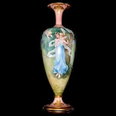 Belleek Tall Footed Signed Vase Maiden & Putti with Gold Embellishments