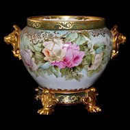Limoges Gold Lion Handled Jardiniere Pink/Yellow/Apricot/Lilac Roses with Decorated Matching Paw Footed Plinth