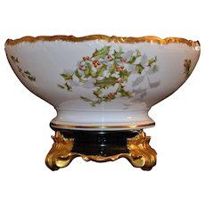 Limoges Holy Berry Punch Bowl with Matching Dark Green Plinth/Base