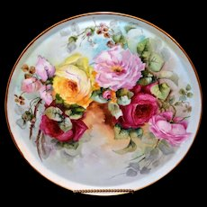 Limoges Exquisite Huge Hand Painted Signed Porcelain Tray with Stunningly Executed Red, Pink and Yellow Roses