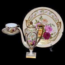 Limoges Roses/Gold Decorated Chocolate Pot/Coffee Pot with Matching Cup/Saucer and Charger Signed Magne