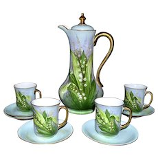 Limoges Chocolate Set Lily of the Valley Hand Painted Decor Signed Master French Artist Bronssillon