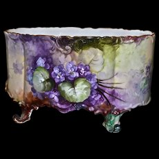 Limoges Large Footed Jardiniere/Vase/Planter/Fernier Covered in Gorgeous Purple Violets with Scalloped Top and Bottom Edges