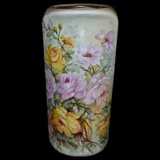 Limoges Large Porcelain Floor Vase With Gorgeous White, Apricot, Pink and Yellow Roses Signed by Well Known China Painter Amy Lakides