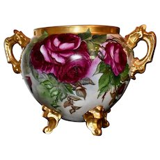Limoges Delinieies Gold Handled Jardiniere/Vase/Planter with Ruby Red Roses on One Side and a Fabulous Waterfall and Nature Scene on The Reverse Side Mixed with Red Roses