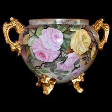 Limoges Jardiniere/Planter/Vase with Hand Painted Red, Pink , Yellow and White Roses with  Elaborate Gold Handles and Feet