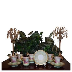 Limoges Lovely Set of Six Rose and Gold Decorated Cups and Saucers
