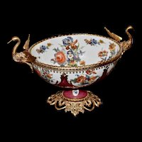 Large Porcelain Centerpiece or Console Bowl With Gilded Swan Handles and Clusters of Roses and Wildflowers