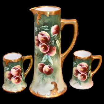 Limoges Hand Painted Huge Peach Tankard and Mugs Signed Pickard and J.H.Stouffer Artist Jacob Kiefus