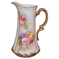 Limoges Tankard with Pink and Yellow Roses and Lilacs Heavy Gold Flourishes and Arched Handle Signed by Listed Artist Rozy