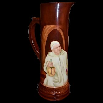Limoges Large Hand Painted Signed Friar Monk Tankard