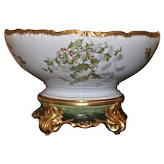 Limoges Holly Berry Punch Bowl Gold With Gold Trim and Matching Multi Green and Gold Plinth/Base