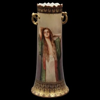 Limoges Large Hand Painted Signed Portrait Vase with Twisted Gold Handles