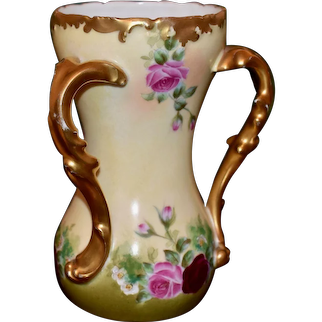 Limoges Three Gold Handled Loving Cup with Ruby Red and Pink Roses