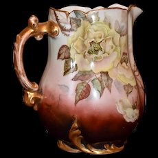 Haviland Limoges Yellow Rose Pitcher with Gold Encrusted Ornate Handle, Mouth Rim and Base