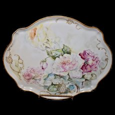 Limoges Large Hand Painted Tray with Pink and Yellow Roses and Wonderful Raised Gold Fret Work