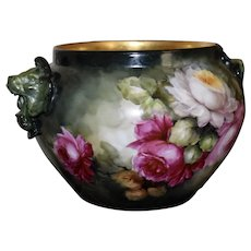 Limoges Lion Handled Jardiniere Dramatic Red, Pink and White Roses with Gold Encrusted Interior Rim Signed