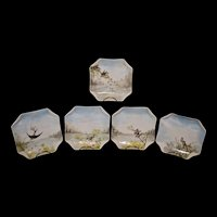 Haviland Limoges Set of Five Napkin Styled Luncheon Plates Featuring Birds Signed by Artist