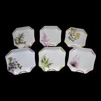 Haviland Limoges Signed Botanical Set of Six Napkin Inspired Luncheon Plates