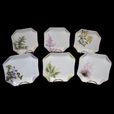 Haviland Limoges Signed Botanical Set of Six Napkin Inspired Luncheon Plates
