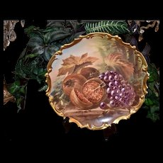 Limoges Large Still LIfe Fruit Charger with Grapes and Persimmons Signed Dubois