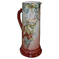 Limoges Large Signed Tankard Covered in Red Raspberries