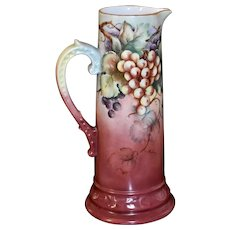 Limoges Large Tankard Covered with Golden Yellow and Dark Purple Grapes