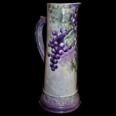 Limoges Huge Tankard with Luscious Purple and White Grapes