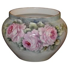 Limoges jardiniere/Planter/Vase with Lovely Pink Roses