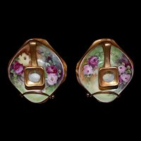 Limoges Pair of Candlesticks/Holders Covered in Roses and Gold
