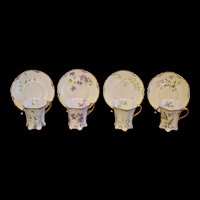 Haviland Limoges Set of Four Floral Demitasse Cups with Matching Saucers