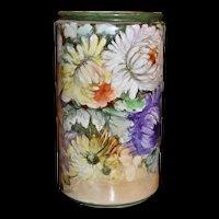 Limoges Vase with Huge Vibrant Mums