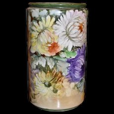 Limoges Vase with Huge Vibrant Mums