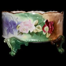 Limoges Rose Covered Ferner or Small Footed Jardiniere with Roses