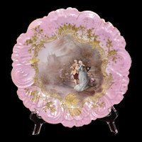 Limoges Attributed Gorgeous Portrait Plate of Courting Couple Set Within Intricate Ornately Detailed Gold Cartouche Signed Muville