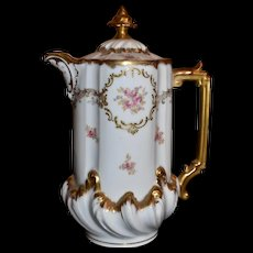 Limoges Chocolate Pot with Dainty Clusters of Roses and Heavy Raised Gold Detailing and Paste Work