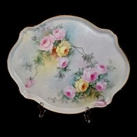 Limoges Gorgeous Oval Teal with Pink and Yellow Roses