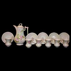 Limoges Chocolate Pot with Five Matching Cups and Saucers with Pink and White Roses and Intricate Gold Detailing