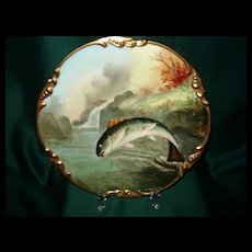 Limoges Amazing Fish Charger Signed Heidrich
