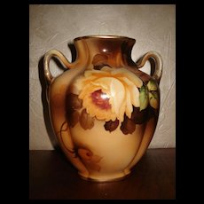 Nippon Vase With Double Handles and Yellow Roses