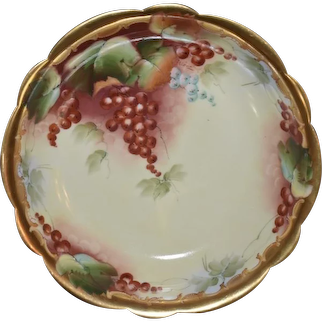 Limoges Hand Painted Bowl Featuring Red Currants Signed by Pickard Artist Blaha