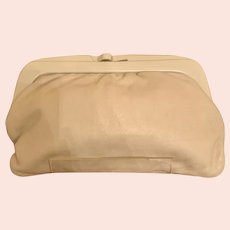 Vintage 80s Italian Beige Leather Large CLUTCH with Heavy Bakelite Frame