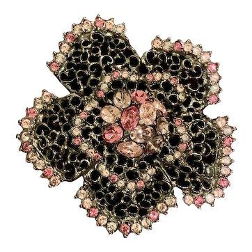 Kenneth J Lane Pink Crystal Flower Brooch