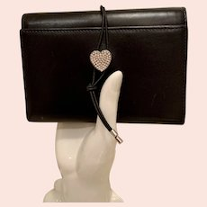 Vintage Moschino Redwall Collection Trifold Wallet with Crystal Heart