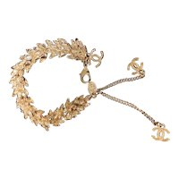 Chanel 2010 Collection Wheat Bracelet,Gold plated with Strass Crystals