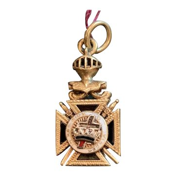 Antique Masonic Knights Templar 14k Gold Watch Fob