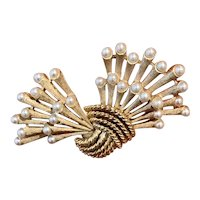 Trifari Imitation Gold Tone Metal and Simulated Pearl Brooch