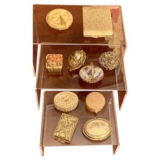 10 Max Factor Vintage Solid Perfume Boxes and powder compacts Collection-Unique Shapes