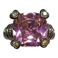 Judith Ripka Fontaine Sterling Silver Pink Quartz Crystal & Diamond Ring